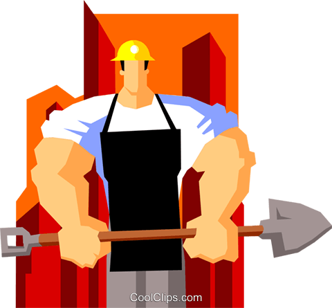 construction worker with shovel Royalty Free Vector Clip Art illustration peop3596