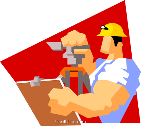 construction worker surveying Royalty Free Vector Clip Art illustration peop3597