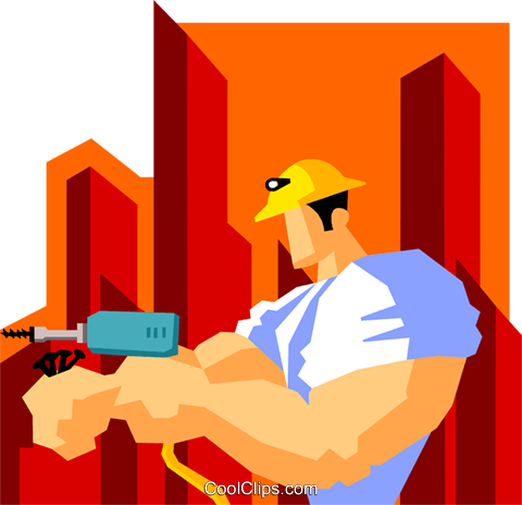 construction worker with drill Royalty Free Vector Clip Art illustration peop3600