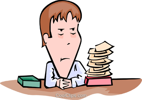 businessman facing urgent pile of work Royalty Free Vector Clip Art illustration peop3604