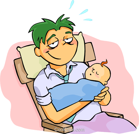 Tired Dad With Kids Clip Art