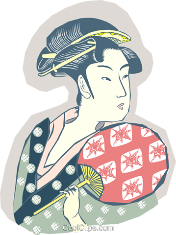 Japanese woman Royalty Free Vector Clip Art illustration peop3639