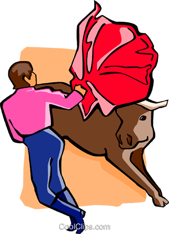bullfighter with bull Royalty Free Vector Clip Art illustration spor0404