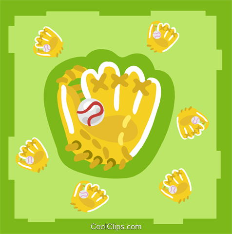 baseball gloves and balls Royalty Free Vector Clip Art illustration spor0409