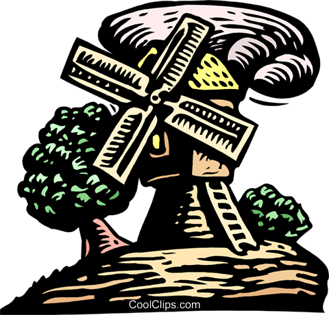 woodcut windmill Royalty Free Vector Clip Art illustration arch0512