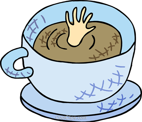 bottomless cup of coffee Royalty Free Vector Clip Art illustration food1183