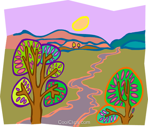 trees by stream Royalty Free Vector Clip Art illustration natu0961