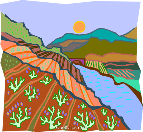 stream by farm leading to bridge Royalty Free Vector Clip Art illustration natu0962