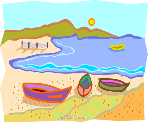 beach with boats on the shore Royalty Free Vector Clip Art illustration natu0969