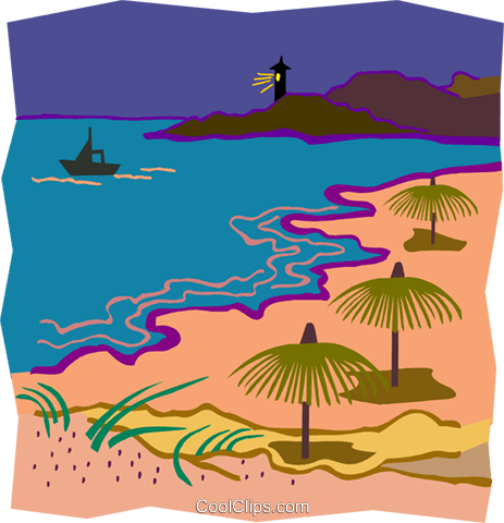 grass umbrellas, lighthouse in background Royalty Free Vector Clip Art illustration natu0973
