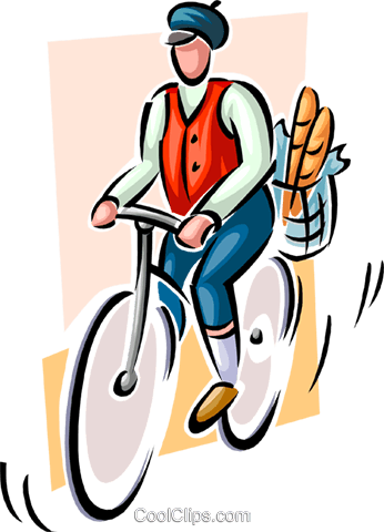 person on bike with groceries in basket Royalty Free Vector Clip Art illustration peop3677