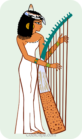 Egyptian woman playing harp Royalty Free Vector Clip Art illustration peop3678