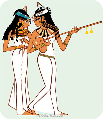 two Egyptian women, one with guitar Royalty Free Vector Clip Art illustration peop3679