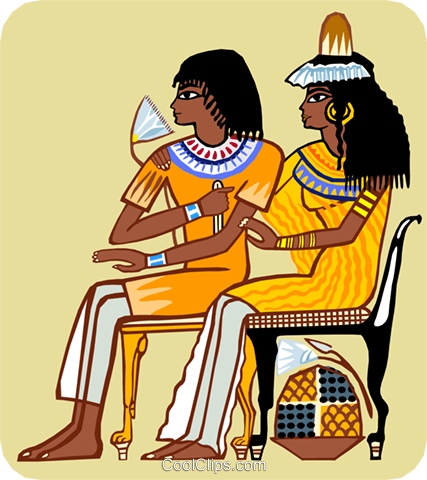 two seated Egyptian women Royalty Free Vector Clip Art illustration peop3680
