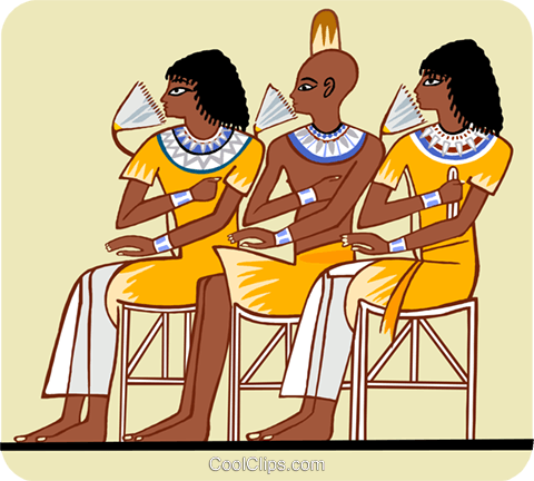 Two Egyptian women, one man, seated Royalty Free Vector Clip Art illustration peop3681