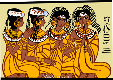 Egyptian women, seated on floor Royalty Free Vector Clip Art illustration peop3683