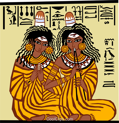 two Egyptian women seated on floor Royalty Free Vector Clip Art illustration peop3684