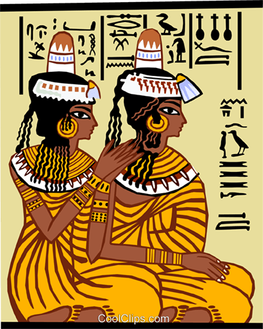 two Egyptian women, braiding hair Royalty Free Vector Clip Art illustration peop3685