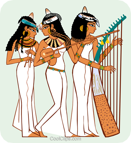 Egyptian women playing instruments Royalty Free Vector Clip Art illustration peop3687