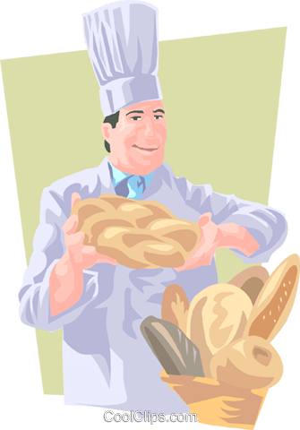 baker presenting bread Royalty Free Vector Clip Art illustration peop3690