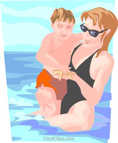 Mother and child at beach Royalty Free Vector Clip Art illustration peop3692