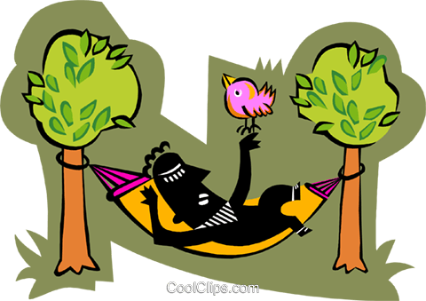 person relaxing in hammock with bird Royalty Free Vector Clip Art illustration peop3700