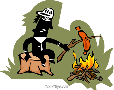 person roasting hot dog over fire Royalty Free Vector Clip Art illustration peop3702