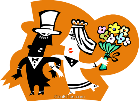 Man and woman getting married Royalty Free Vector Clip Art illustration peop3709