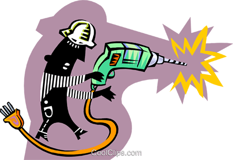 construction worker using drill Royalty Free Vector Clip Art illustration peop3710