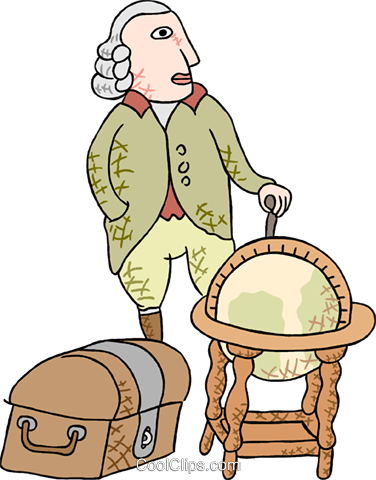 explorer with globe Royalty Free Vector Clip Art illustration peop3716