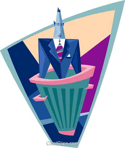 business man in trashcan Royalty Free Vector Clip Art illustration peop3720