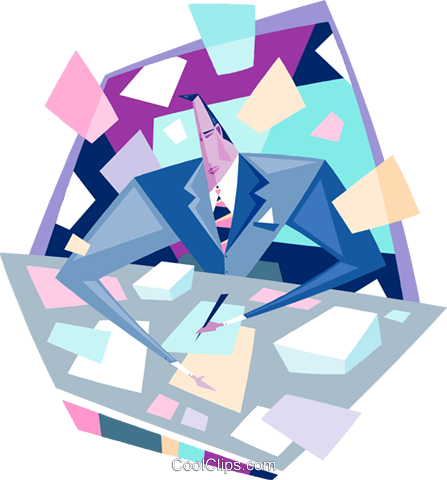 Business man with flying papers Royalty Free Vector Clip Art illustration peop3725