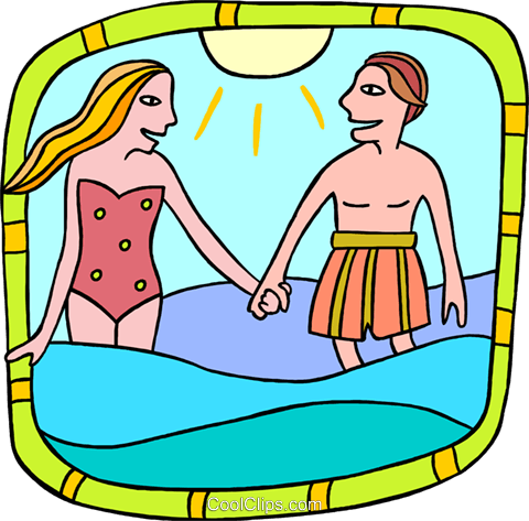 Couple in water Royalty Free Vector Clip Art illustration peop3728