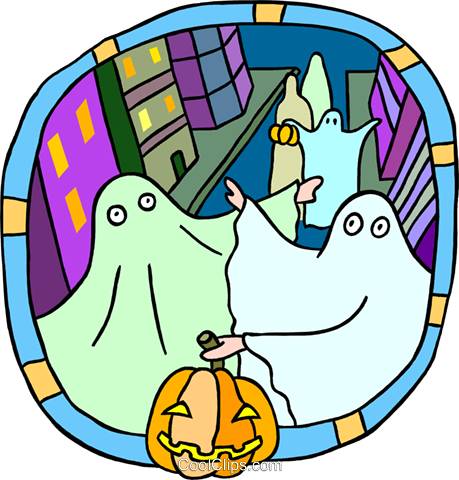 ghosts trick-or-treating Royalty Free Vector Clip Art illustration peop3733