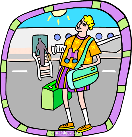 tourist at airport Royalty Free Vector Clip Art illustration peop3734