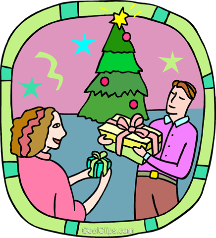 gift exchanging at Christmas Royalty Free Vector Clip Art illustration peop3735