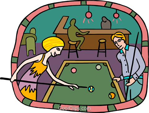 Couple playing pool Royalty Free Vector Clip Art illustration peop3742