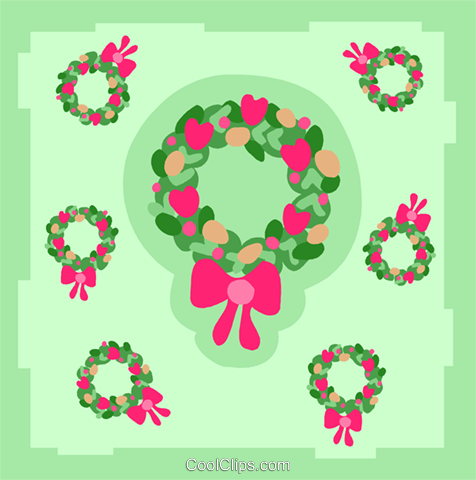 Christmas wreaths Royalty Free Vector Clip Art illustration spec0393