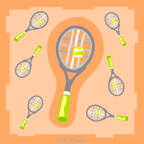 Tennis rackets with balls Royalty Free Vector Clip Art illustration spor0412