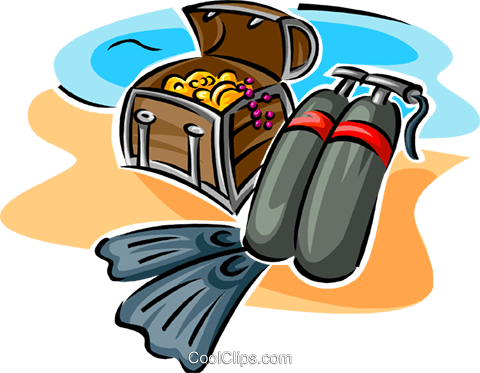 scuba equipment and treasure chest Royalty Free Vector Clip Art illustration spor0415