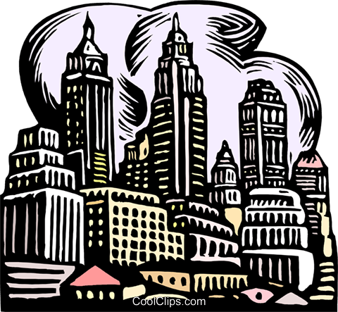 woodcut city scape Royalty Free Vector Clip Art illustration arch0520