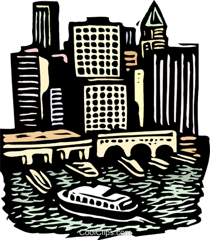 woodcut European cityscape Royalty Free Vector Clip Art illustration arch0521
