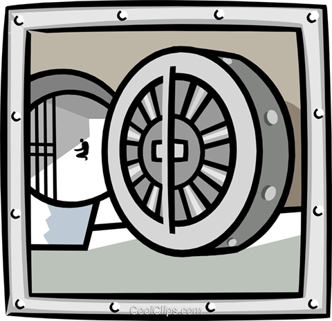 business bank vault Royalty Free Vector Clip Art illustration busi1692