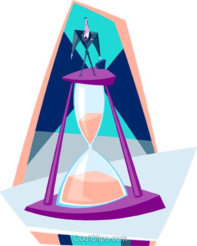 hourglass running out of time Royalty Free Vector Clip Art illustration busi1694