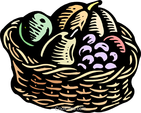 Woodcut basket of fruit Royalty Free Vector Clip Art illustration food1185