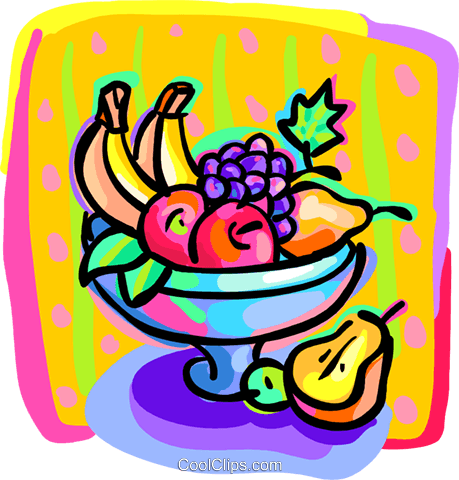 bowl of fruit Royalty Free Vector Clip Art illustration food1187