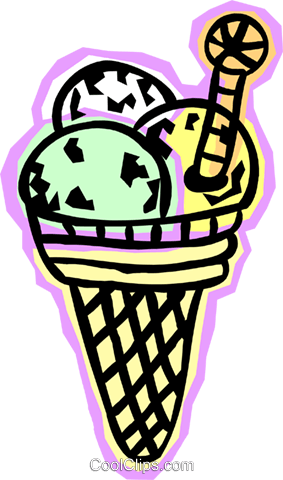 ice cream cone Royalty Free Vector Clip Art illustration food1190