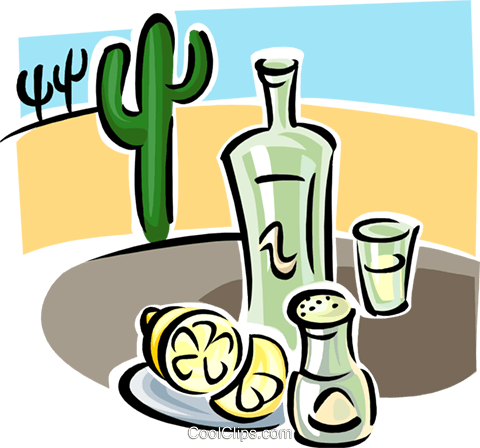tequila with lemons Royalty Free Vector Clip Art illustration food1193
