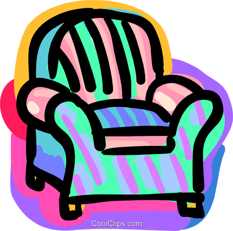 arm chair Royalty Free Vector Clip Art illustration hous1373