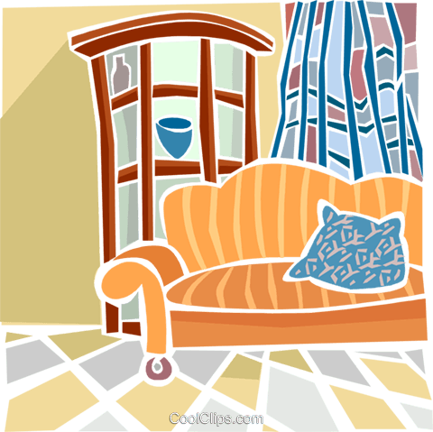 living room Royalty Free Vector Clip Art illustration hous1382
